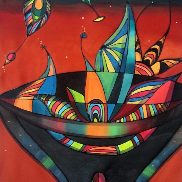 Jarrón con hojas | Vase with leaves | 60x40cm | Pintura sobre seda | Painting on silk