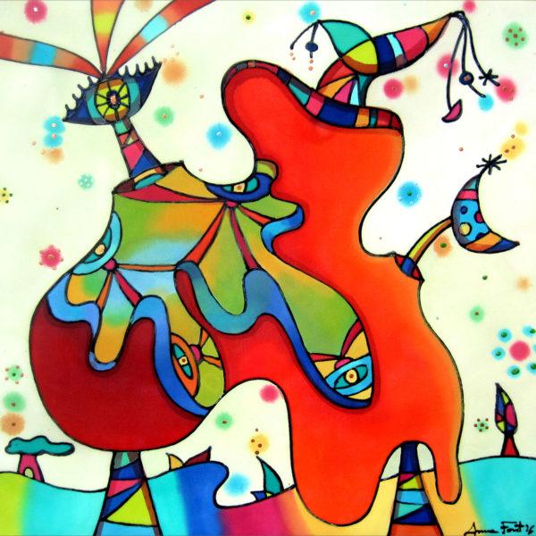Jarrón daliniano | Dalinian vase | 50x50cm | Pintura sobre seda | Painting on silk