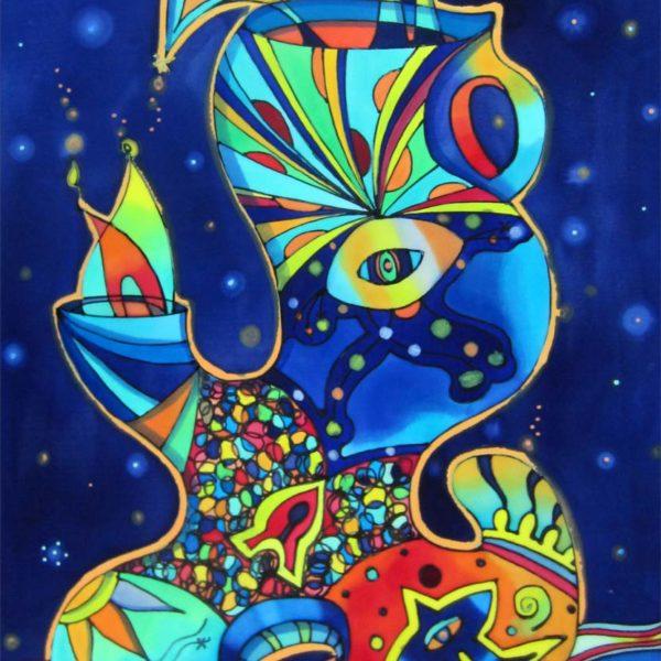 Jarrón galáctico | Galactic vase | 55x 80cm | Pintura sobre seda | Painting on silk