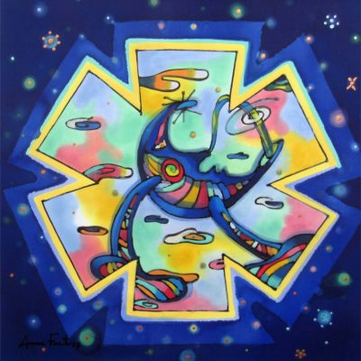 Dance of the moon | Danza de la luna | 30x30cm | Painting on silk