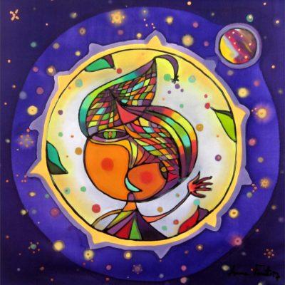 Planet Jupiter | Planeta Júpiter | 30x30cm | Painting on silk