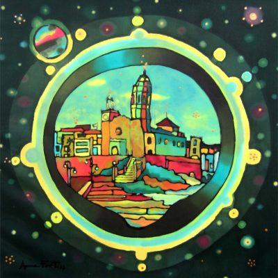 silk Universe Sitgetano | Universo sitgetano | 50x50cm | Painting on silk