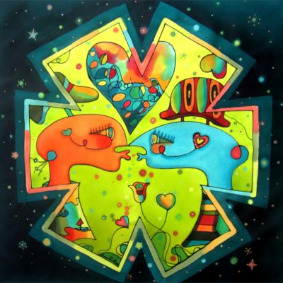 Universe of tenderness | Universo de ternura | 50x50cm | Painting on silk