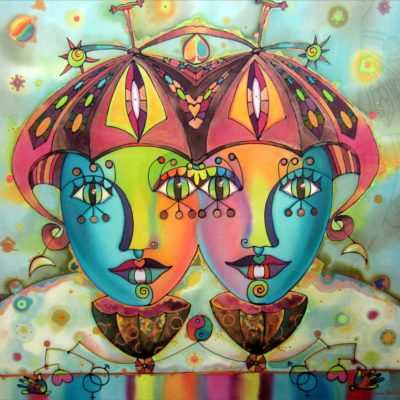 Colores de libertad   Colors of freedom   80x80cm   Pintura sobre seda   Painting on silk