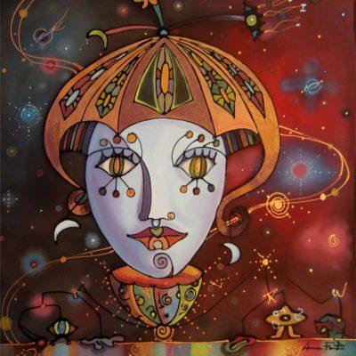 La cybernáutica | The cybernautic | 50x50cm | Pintura sobre seda | Painting on silk