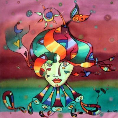 La maga del bosque   The magician of the forest   50x50cm   Pintura sobre seda   Painting on silk
