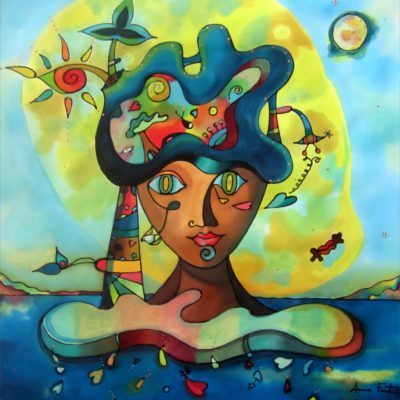 La Moreneta | The Moreneta | 50x50cms | Pintura sobre seda | Painting on silk
