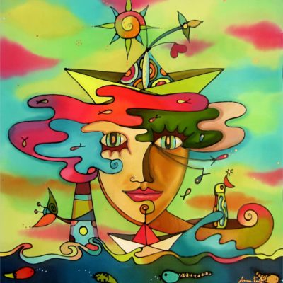 Madre mar   Mother sea   50x50cms   Pintura sobre seda   Painting on silk