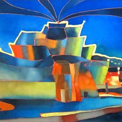 Guggenheim de Bilbao | Guggenheim of Bilbao | 93x34cm | Pintura sobre seda | Painting on silk