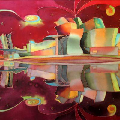 Guggenheim espejo | Guggenheim mirror | 62x55cm | Pintura sobre seda | Painting on silk