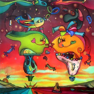 Atardecer daliniano | Dalinian sunset | 60x60cm | Pintura sobre seda | Painting on silk