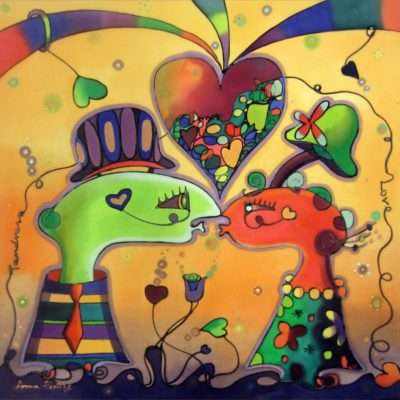 Enamorados en el campo | Lovers in the field | 50x36cm | Pintura sobre seda | Painting on silk