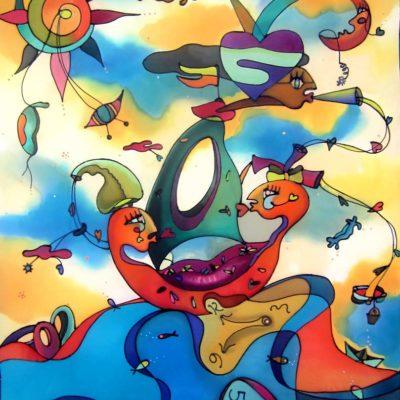 Navegación daliniana | Dalinian navigation | 90x60cm | Pintura sobre seda | Painting on silk