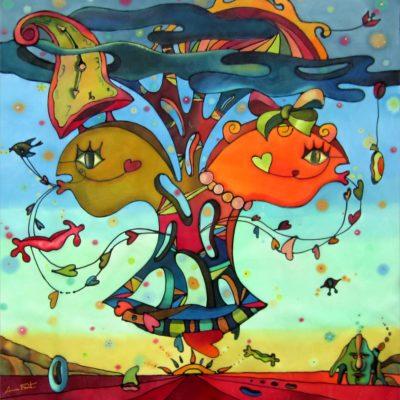 Raíces dalinianas | Dalinian roots | 60x60cm | Pintura sobre seda | Painting on silk