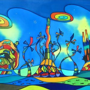 Barcelona 5 symbols | 95x38cm | Painting on silk