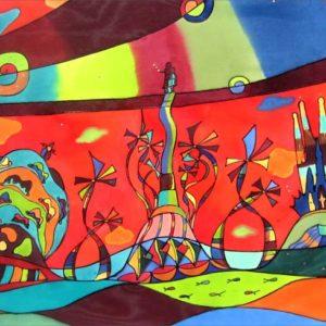 Barcelona y Gaudí | 100x47cm | Pintura sobre seda | Painting on silk