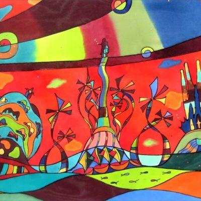 Barcelona and Gaudí | 100x47cm | Painting on silk