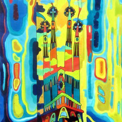Sagrada Família contemporanea   Contemporary Sagrada Familia   Pintura sobre seda   Painting on silk