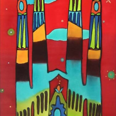 Fauvist Sagrada familia | Painting on silk