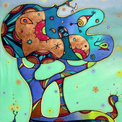 Arbol animado   Animated tree   60x40cm   Pintura sobre seda   Painting on silk