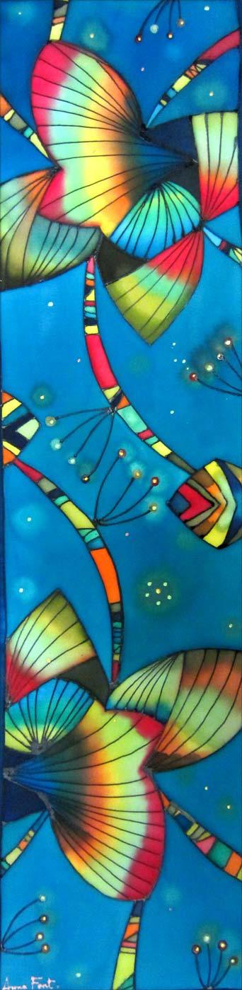 Composición flor-mariposa   Flower-butterfly composition   65x17cm   Pintura sobre seda   Painting on silk