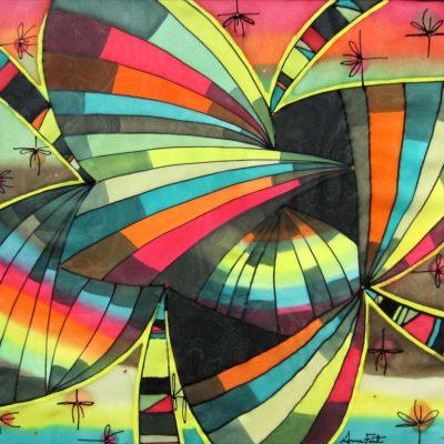 Geometría flor-mariposa | Flower geometry-butterfly | 50x50cm | Pintura sobre seda | Painting on silk