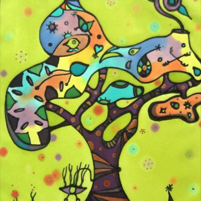 Olivera animada   Olive tree animated   43x30cm   Pintura sobre seda   Painting on silk