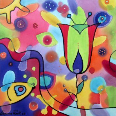 Tulipan y pez   Tulip and fish   30x30cm   Pintura sobre seda   Painting on silk