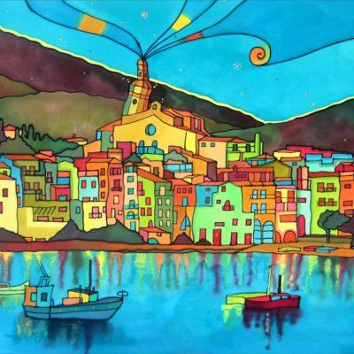 Bahía de Cadaqués | Cadaqués Bay | 100x57cm | Pintura sobre seda | Painting on silk
