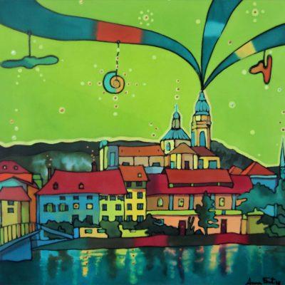 Solothurn fauvista | Favist Solothurn | 35x35cm | Pintura sobre seda | Painting on silk