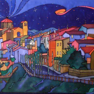 Tortellà de noche | Tortellà at night | 81x47cm | Pintura sobre seda | Painting on silk