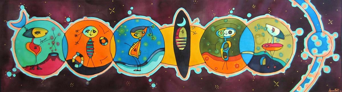 Cosmic Tutis | Cosmic Tutis | 96x27cm | Painting on silk
