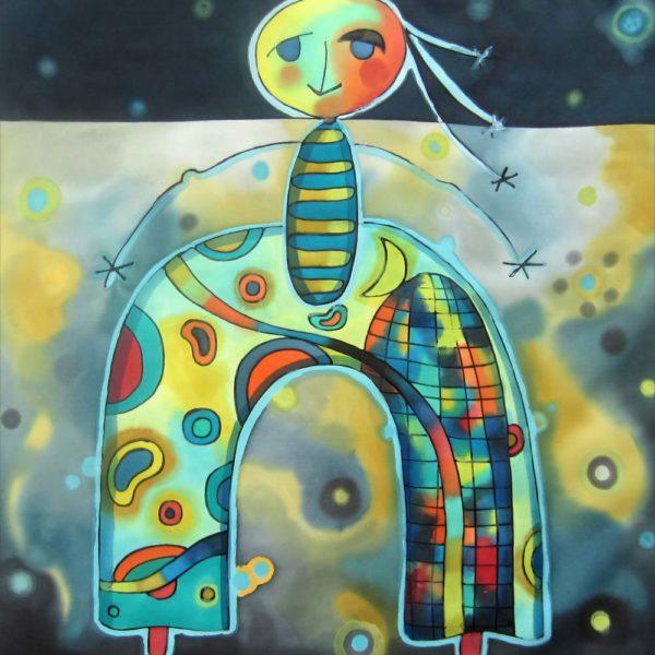 Tuti galáctico | Galactic Tuti | 40x40cm | Pintura sobre seda | Painting on silk