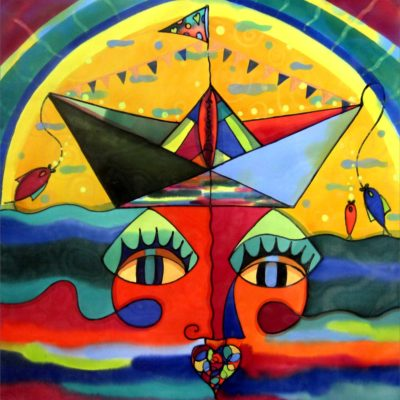 Laura's dream | El sueño de Laura | 50x50cm | Painting on silk