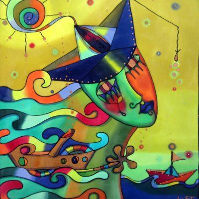 Marinera de los sueños | Sailor women of the dreams | 50x50cm | Pintura sobre seda | Painting on silk