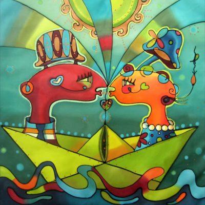 Journey to the tenderness | Viaje a la ternura | 50x50cm | Painting on silk