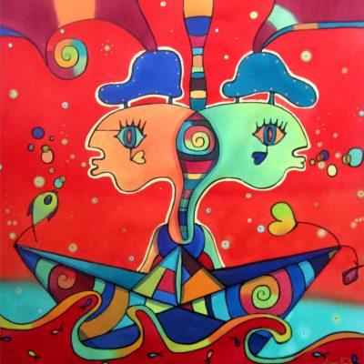 Journey to the interior | Viaje al interior | 50x50cm | Painting on silk