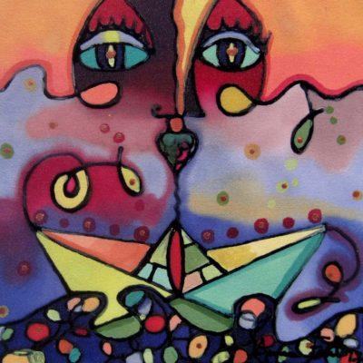 Viaje en el espejo | Travel in the mirror | 50x50cm | Pintura sobre seda | Painting on silk