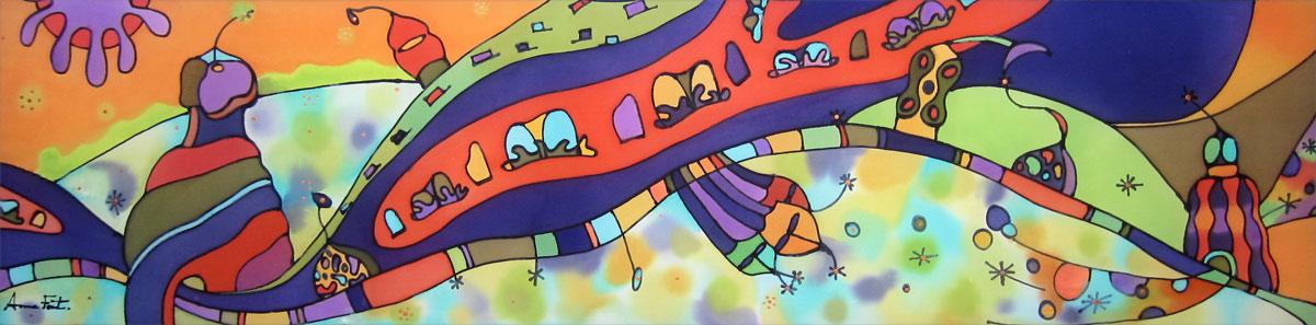 Terrace Casa Milá-Pedrera   Painting on silk