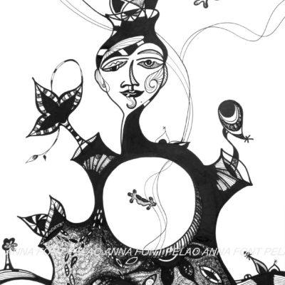 Catalan gypsy | Gitana catalana | 68x48cm | Ink on paper