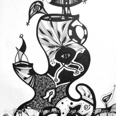 Hidden looks | Miradas ocultas | 48x35cm | Ink on paper