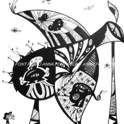 Fish in love with a vase | Pez enamorado de un jarrón | 48x35cm | Ink on paper